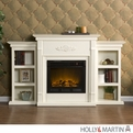 Holly & Martin Fredricksburg Ivory Electric Fireplace with Bookcases