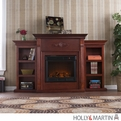 Holly & Martin Fredricksburg Mahogany Electric Fireplace with Bookcases