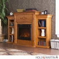 Holly & Martin Fredricksburg Plantation Oak Electric Fireplace with Bookcases