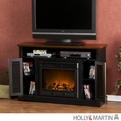 Holly & Martin Savannah Black & Walnut Media Electric Fireplace