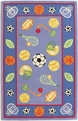 Kidding Around 429 Let's Play Ball Blue Red Area Rug by Kas