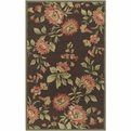 Rain RAI-1023 Chocolate Burgundy Coral Outdoor Area Rug by Surya