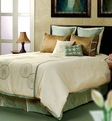 Space <br>BT-571 <br>Cream / Mineral Blue <br>Poly Staple <br>80% Viscose 20% Polyester <br>Made in India <br>Home Texco Bedding