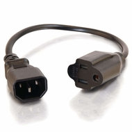 1 Foot C14 to NEMA 5-15R Power Adapter Cable