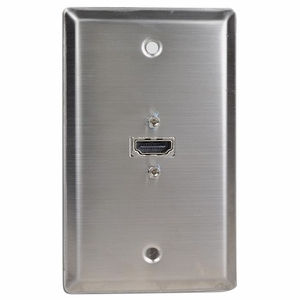 1 Port HDMI Stainless Steel Locking Wall Plate - Click to enlarge