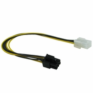 "12"" 6 Pin PCI Express Male/Female Power Extension Cable"