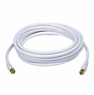 15 Foot Premium 18AWG RG6 CL2 (In-Wall) Quad Shield Gold Plated Coax Cable - White