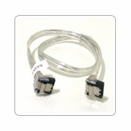 """18"""" SATA II Data Cable, Clear Silver, w/Latch, Right Angle to Right Angle"""