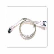 """18"""" SATA II Data Cable, Clear Silver, w/Latch, Straight on both ends"""