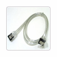 """24"""" SATA II Data Cable, Clear Silver, w/Latch, Right Angle to Straight"""