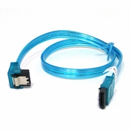 """36"""" SATA II Data Cable, UV Blue, w/Latch, Right Angle to Straight"""