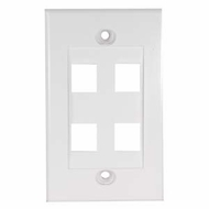 4 Port Decora Style Wall Plate for Keystone Jacks, White