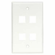 4 Port Smooth Faced Wall Plate for Keystone Jacks, White