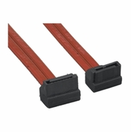 """.5 Meter (20"""") Left Angle to Right Angle Translucent Red SATA Data Cable"""