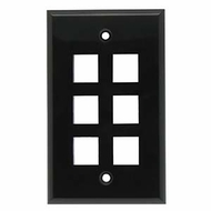 6 Port Smooth Faced Wall Plate for Keystone Jacks, Black