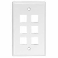 6 Port Smooth Faced Wall Plate for Keystone Jacks, White