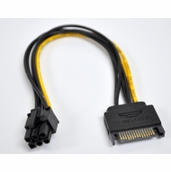 8 Inch SATA 15 pin power to 6 Pin PCI Express Card Power Cable Adapter