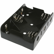 Battery Holder / Open Type for 3 C Battery with 6 inch 24AWG Lead (Side By Side)