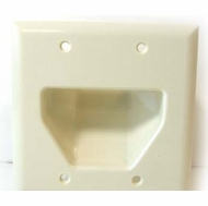 DataComm Double Gang Recessed Low Voltage Cable Wall Plate - Light Almond