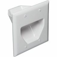 DataComm Double Gang Recessed Low Voltage Cable Wall Plate - White
