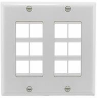Double Gang 12 Port Keystone Wall Plate - White *SEE NOTES*
