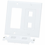 Double Gang 4 Port Keystone Wall Plate - White