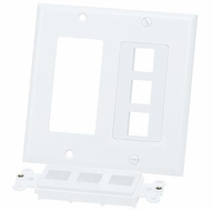 Double Gang 6 Port Keystone Wall Plate - White