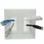 Dual Gang Wall Plate with brush bristles - White