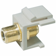 "Gold Plated Coax ""F"" Connector Keystone Insert - White"