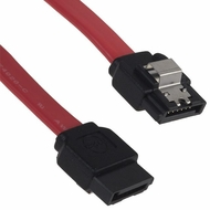 "Molex 10"" Red SATA Data Cable with Metal Clips on both ends"