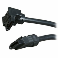 """OKGear 36"""" Black SATA 6Gbs Round Data Cable, Right Angle to Straight, with Clips"""