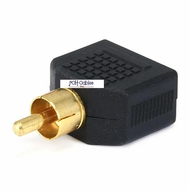 RCA Plug to 2 x 3.5mm Stereo Jack Splitter Adaptor - Gold Plated