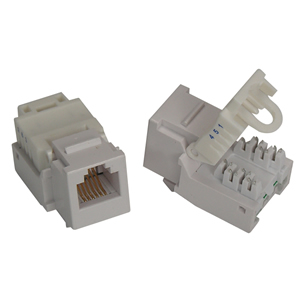 RJ11/12 (Telephone) ToolLess Keystone Jack - White