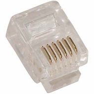 RJ12 6P6C ( 6 Position, 6 Conductor ) Plug for Solid Round Wire - 10 Pack