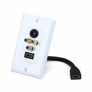 Single Port Decora Style HDMI Pigtail Wall Plate with Toslink and Red/Green/Blue Component Video