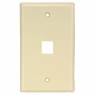 Single Port Smooth Faced Wall Plate for Keystone Jacks - Ivory