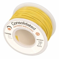 Yellow 25 Foot 24 AWG stranded hook-up wire