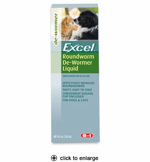 8in1 Excel Roundworm De-Wormer Liquid 4oz