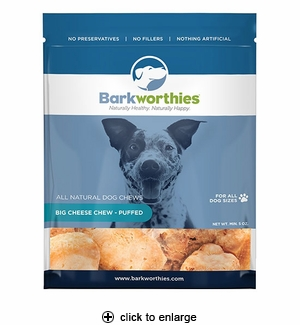 Barkworthies Big Cheese Chew Puffed Dog Treat 5oz
