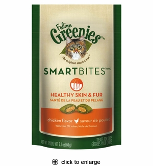 Greenies Feline Smartbites Cat Treats Healthy Skin&Fur Chicken 2.1oz
