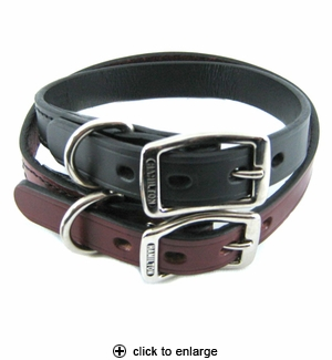 Hamilton Creased Leather Dog Collar 3/4