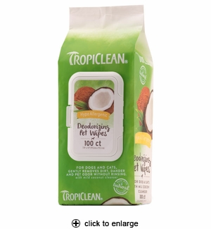 TropiClean Hypoallergenic Deodorizing Pet Wipes 100ct