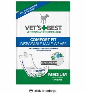 Vet's Best Comfort-Fit Disposable Male Dog Wraps Medium 12pk