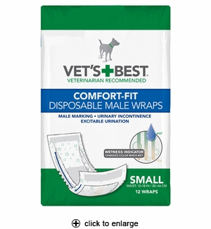 Vet's Best Comfort-Fit Disposable Male Dog Wraps Small 12pk