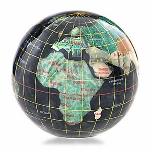 "3"" Black Opalite Gemstone Globe Paperweight"