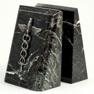Marble Caduceus Medical Bookends