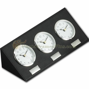 Multi Time Zone Clock Black Leather Engraved