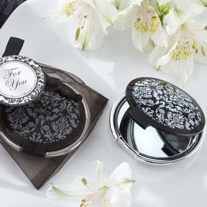 Reflections Elegant Black and White Compact Mirror