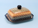 "295 ~ Butter Dish	  <br>    050a ~ Autumn <br>	<small> 5' x 6 3/4"""" x 3 1/2""""high </small>"