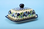 "295 ~ Butter Dish	  <br> 1416~Blue Berries <br>	<small> 5' x 6 3/4"""" x 3 1/2""""high </small>"